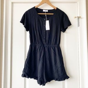 Sage the Label Black Ruffle Folk Romper S NWT